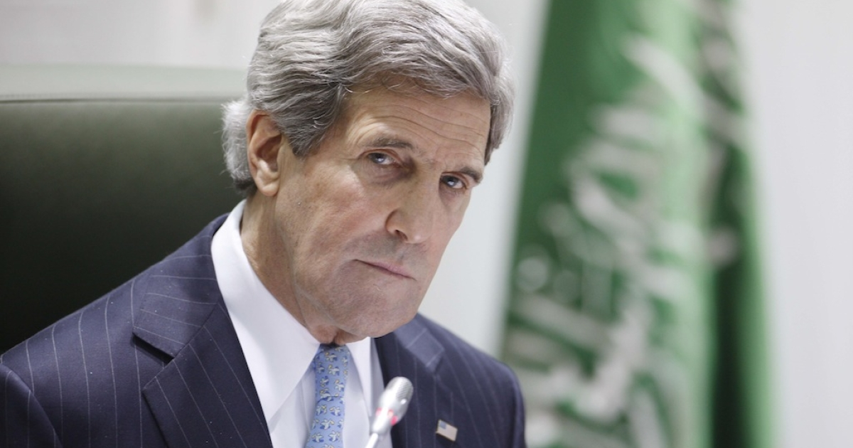 US Secretary of State John Kerry listens during a joint press conference with his counterpart, Saudi Arabia's Prince Saud al-Faisal, at the press hall in the Saudi Foreign Ministry in Riyadh, on March 4, 2013.</p>
