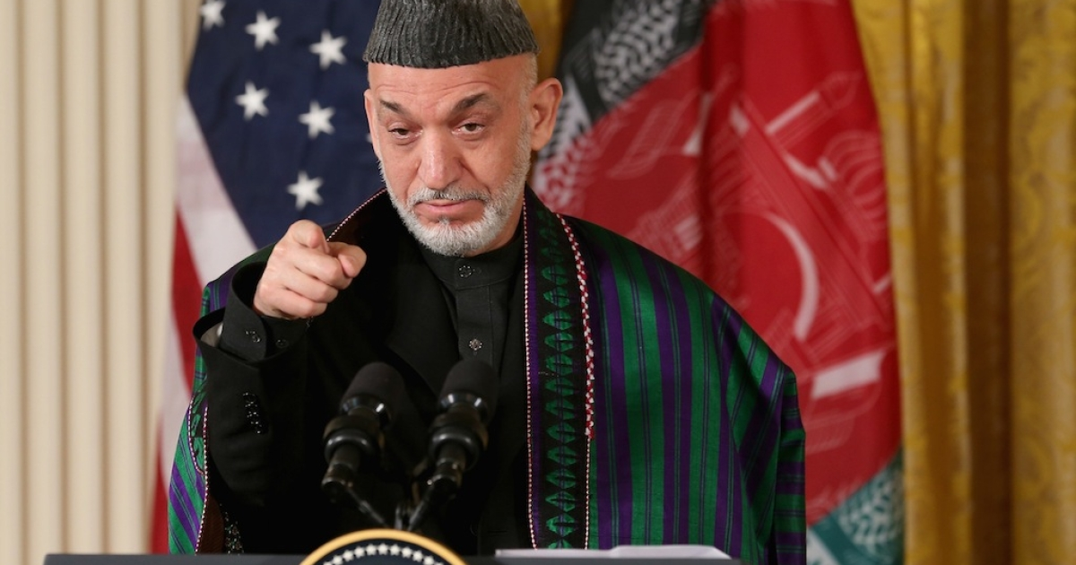 Afghan President Hamid Karzai speaks during a joint news conference with US President Barack Obama on Jan. 11, 2013 in Washington, DC.</p>