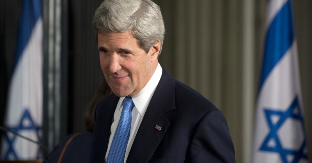 US Secretary of State John Kerry arrives for a joint press conference between Israeli Prime Minister Benjamin Netanyahu and US President Barack Obama at the Prime Minister's Residence in Jerusalem on March 20, 2013.</p>