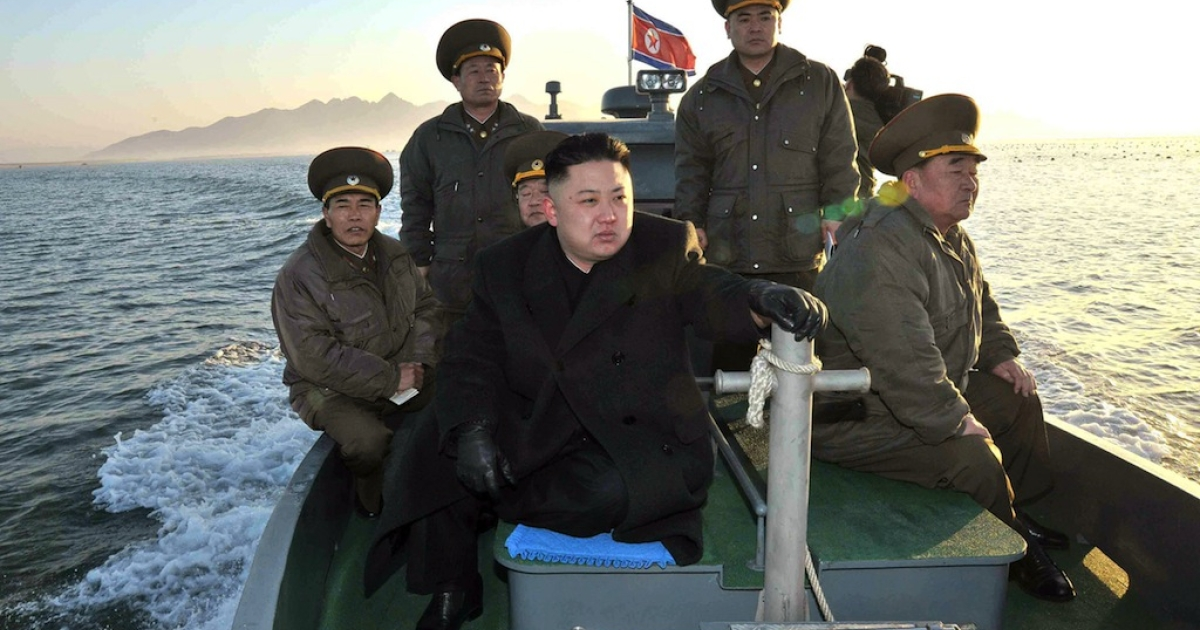 Kim Jong Un visits the Wolnae Islet Defence Detachment in North Korea's western sector near the disputed maritime frontier with South Korea in this undated photo.</p>