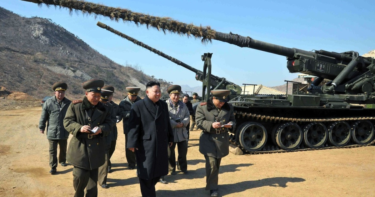 Kim Jong Un inspects a long-range artillery sub-unit of Korean People's Army Unit 641 at undisclosed location in North Korea on March 12, 2013.</p>