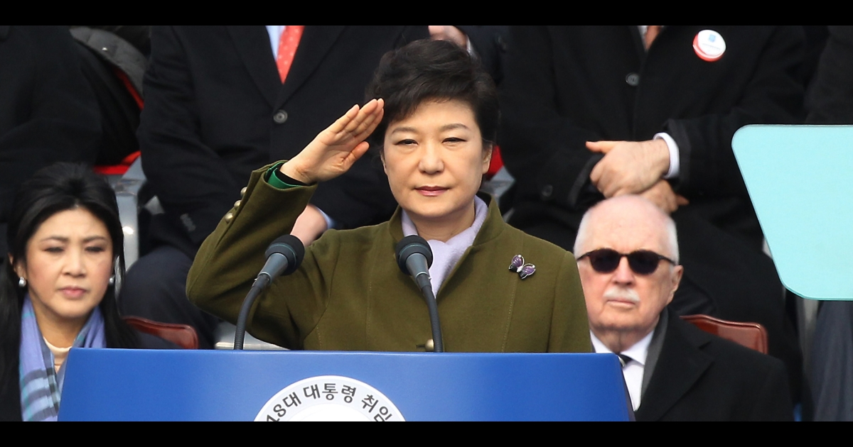 South Korean President Park Geun-hye salutes the crowd during her inauguration ceremony at the National Assembly on Feb. 25, 2013, in Seoul, South Korea. Park was sworn in as the first female president of South Korea.</p>