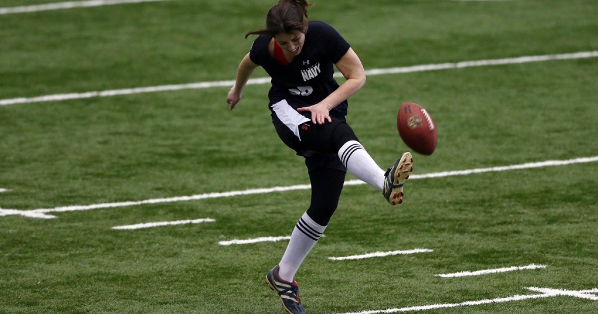 Lauren Silberman attempts a kick during a NFL regional scouting camp on March 3, 2013, at the Atlantic Health Training Center in Floram Park, New Jersey. Silberman is the first female to try out for the NFL.</p>