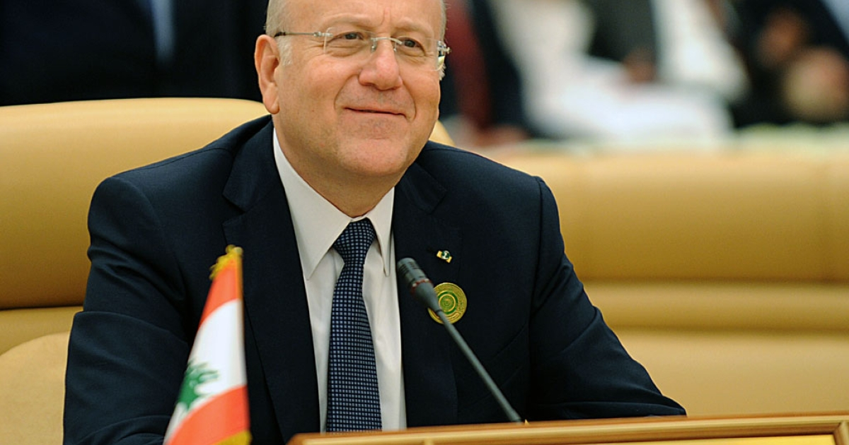 Lebanese Prime Minister Najib Mikati at the third Arab Economic, Social and Development Summit in Riyadh. Mikati resigned on March 22, 2013.</p>