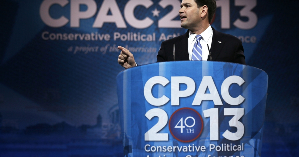 United States Sen. Marco Rubio (R-Fla.) addresses the 40th annual Conservative Political Action Conference (CPAC) on March 14, 2013, in National Harbor, Md. A slate of important conservative leaders are scheduled to speak during the the American Conservative Union's annual conference.</p>