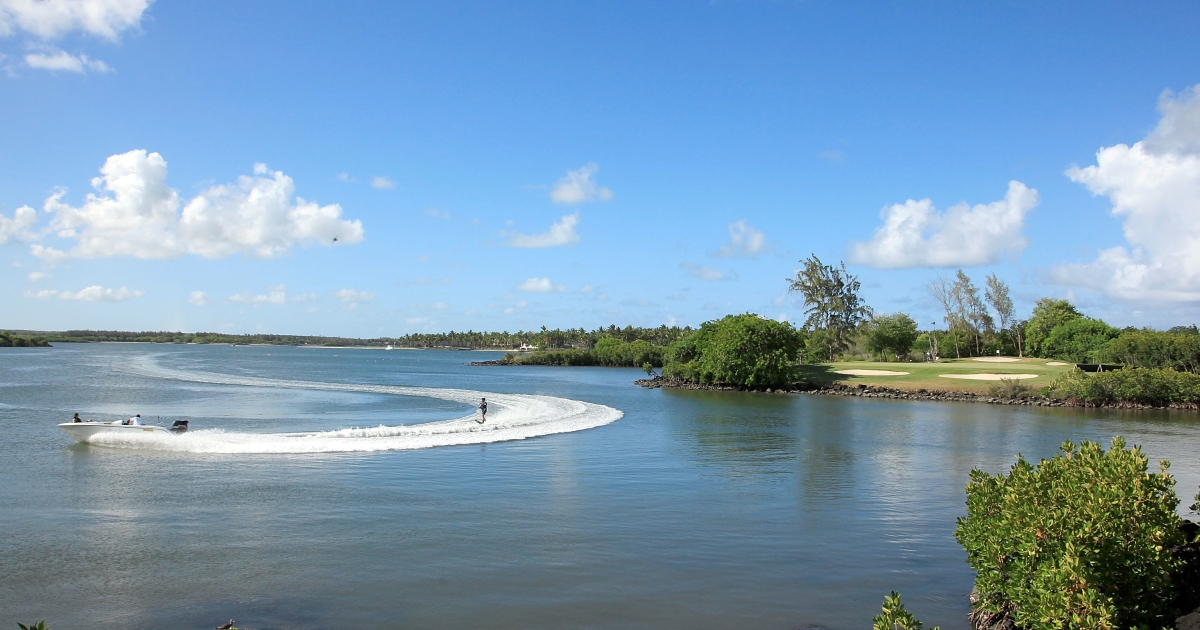 A waterskier in Poste de Flacq, Mauritius, on Dec. 9, 2012.</p>
