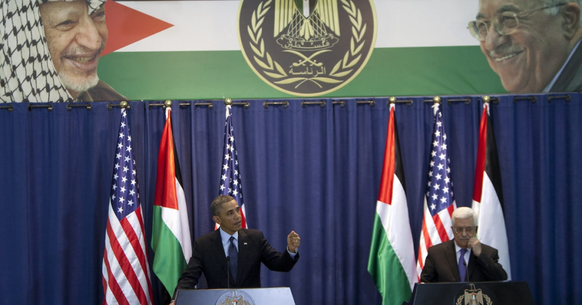 United States President Barack Obama and Palestinian President Mahmoud Abbas (R) give a joint press conference in the West Bank city of Ramallah on March 21, 2013. Obama arrived in the West Bank to a more prickly welcome from Palestinian leaders than the warm embrace he won in Israel the day before.</p>