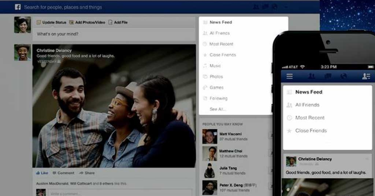 The major redesign of Facebook's News Feed features bigger images, multiple feeds and is modeled after the social network's mobile app.</p>