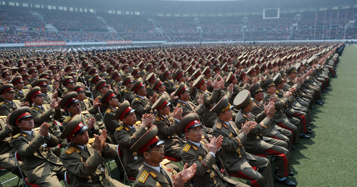 North Korean soldiers applaud as they listen to a speech during an official ceremony attended by leader Kim Jong-Un at a stadium in Pyongyang on April 14, 2012. Negotiations with North Korea in recent history have focused increasingly on security issues, in lieu of human rights abuses that continue to affect people throughout Kim Jong-Un's hermit kingdom.</p>