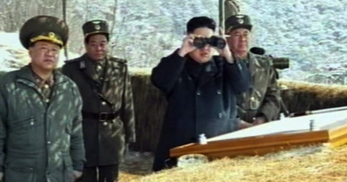 This screengrab taken from North Korean TV shows North Korean leader Kim Jong Un's overseeing a live fire military drill on March 20, 2013.</p>