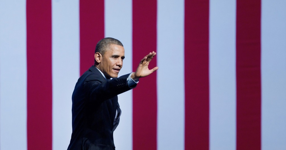 US President Barack Obama waves to the crowd at the end of his speech to Israeli students on March 21, 2013, in Jerusalem.</p>