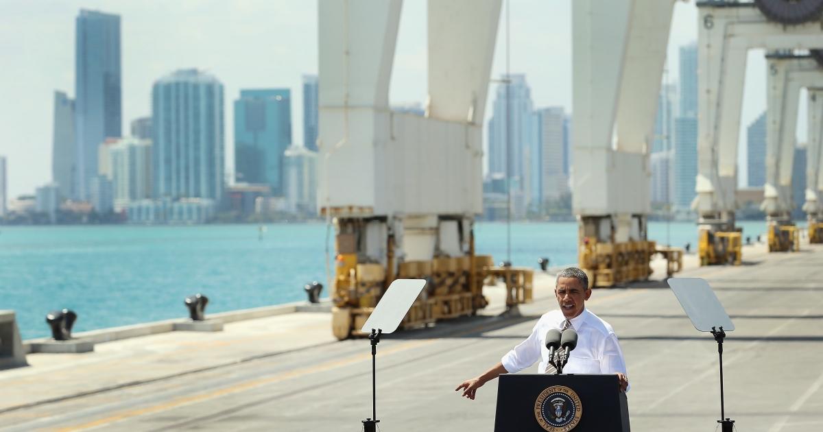 President Barack Obama speaks at PortMiami in Miami, Fla., on Mar. 29, 2013.</p>