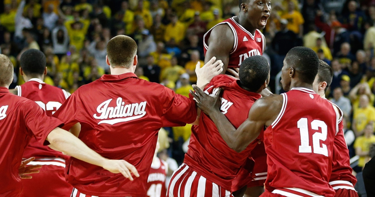 Victor Oladipo (No. 4) of the Indiana Hoosiers celebrates a 72-71 victory over Michigan Wolverines with teammates at Crisler Center on March 10, 2013 in Ann Arbor, Michigan.</p>
