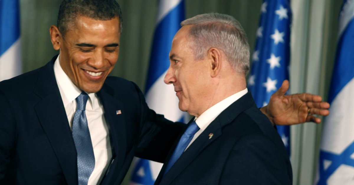 US President Barack Obama (L) greets Israeli Prime Minister Benjamin Netanyahu during a press conference on March 20, 2013 in Jerusalem, Israel. This is Obama's first visit as President to the region, and his itinerary will include meetings with the Palestinian and Israeli leaders as well as a visit to the Church of the Nativity in Bethlehem.</p>