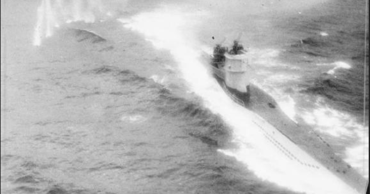 Photograph taken from Consolidated Catalina Mark IVA of No. 210 Squadron RAF during an attack on German Type VIIC submarine U-361. The wreck of another Type VIIC submarine, the U-486, has just been identified off the coast of Norway.</p>