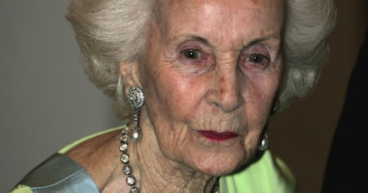 STOCKHOLM, SWEDEN - Princess Lilian of Sweden arrives for the Gala Dinner at Royal Palace to celebrate King Carl Gustaf XVI of Sweden's 60th Birthday on April 30, 2006 in Stockholm, Sweden.  Princess Lilian died Sunday March 10, 2013 at age 97.</p>