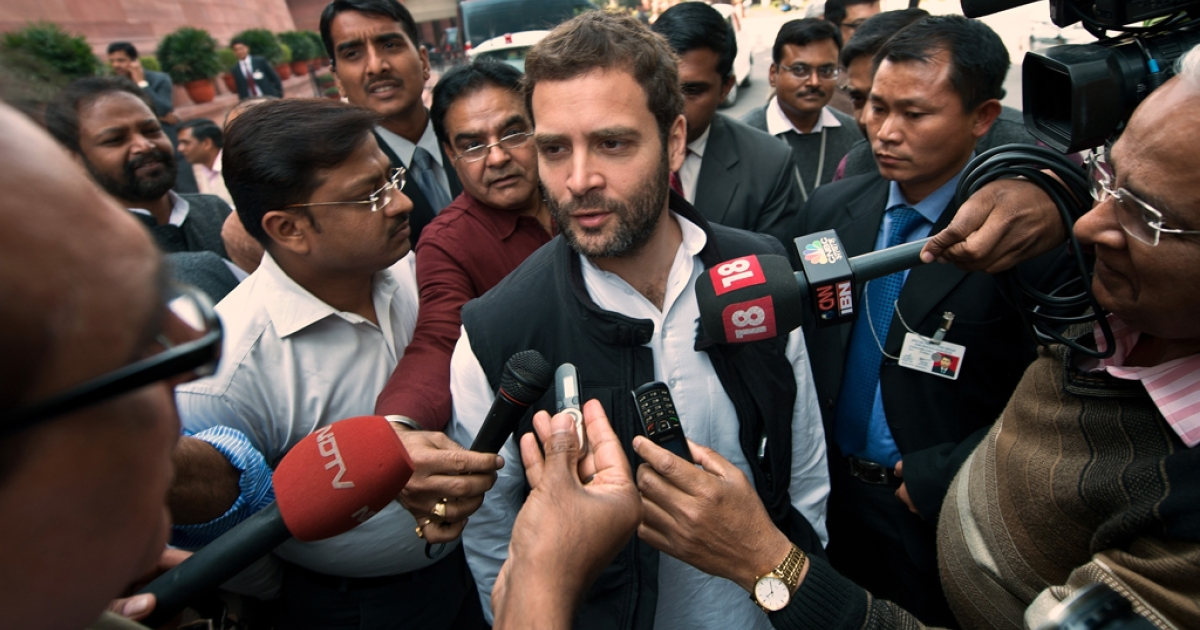 India's Congress Party Vice President and Member of Parliament, Rahul Gandhi, speaks with the media at Parliament in New Delhi on February 21, 2013.</p>