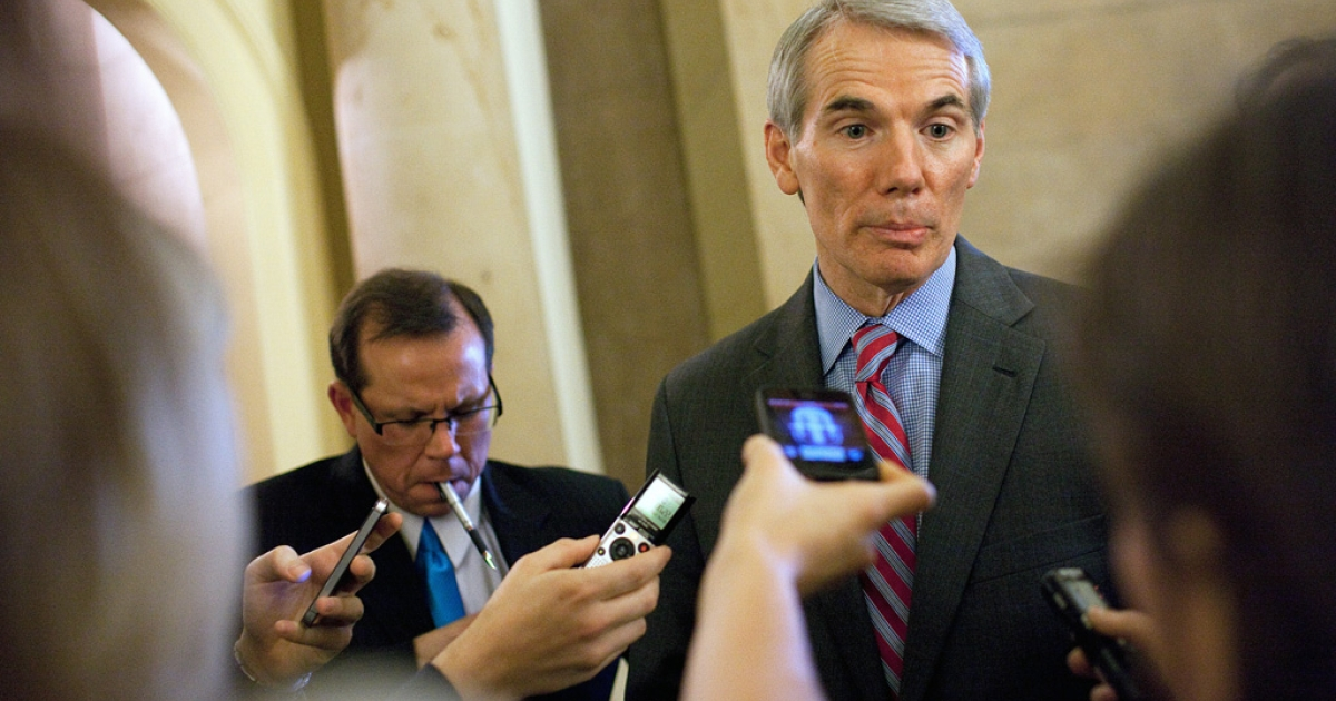 Sen. Rob Portman (R-Ohio) speaks with reporters on Dec. 20, 2012 in Washington, DC.</p>