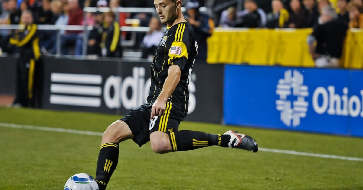 Robbie Rogers controls the ball in Columbus, Ohio on Sept. 24, 2011.</p>