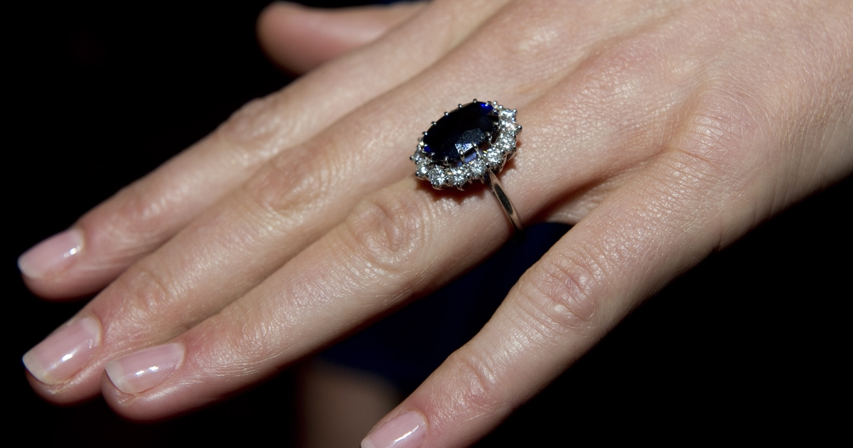 A close-up of Kate Middleton's engagement ring, a blue sapphire and diamond ring that originally belonged to Diana, Princess of Wales.</p>