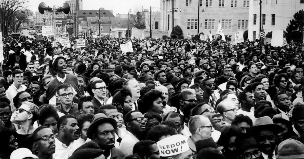 Civil rights demonstrators, led by Dr Martin Luther King (not pictured), arrive in Montgomery from Selma on March 26, 1965 in Alabama, on the third leg of the Selma to Montgomery marches. The Selma-to-Montgomery March for voting rights ended three weeks and represented the political and emotional peak of the modern civil rights movement. The first march took place on March 07, 1965 (