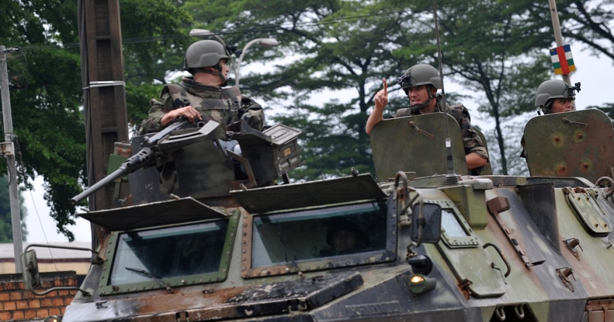 French soldiers patrol in a military truck in a street of Bangui, Central African Republic on March 25, 2013.</p>