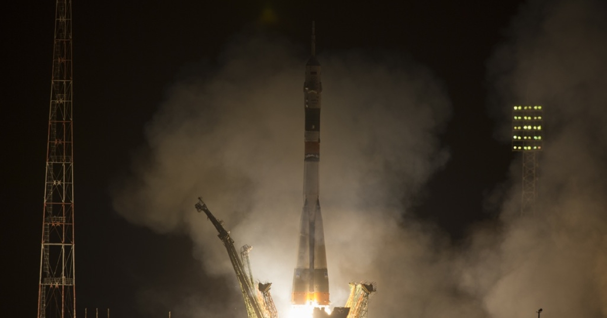 The Soyuz TMA-08M rocket launches from the Baikonur Cosmodrome in Kazakhstan on March 29, 2013. Five hours and 45 minutes later, the capsule was at the International Space Station.</p>