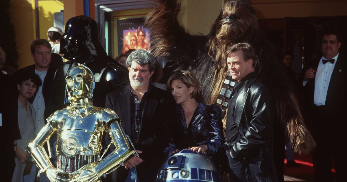 George Lucas, Carrie Fisher, Mark Hamill and actors portraying C-3PO, R2-D2, Darth Vader and Chewbacca attend the premiere of the 1997 Star Wars Trilogy Special Edition to celebrate the 20th anniversary of the release of Star Wars Episode IV: A New Hope on Jan. 18, 1997.</p>