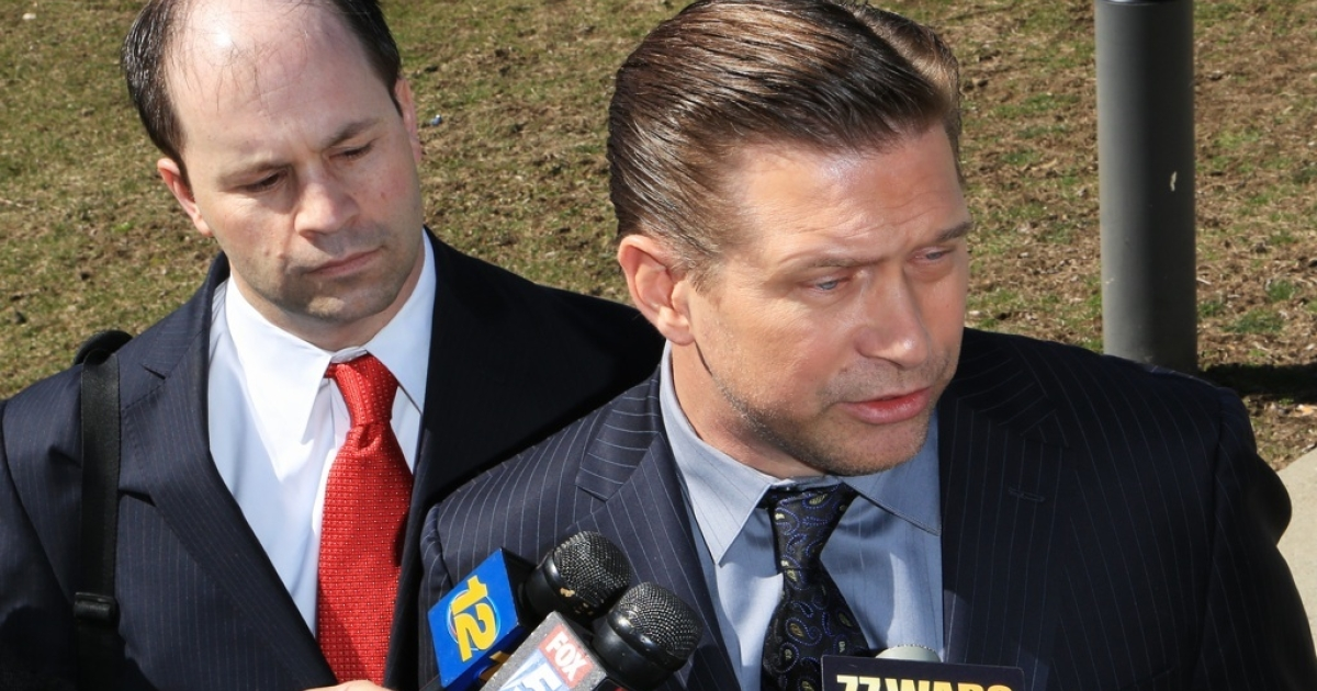 NEW CITY, NY - MARCH 29:  Attorney Russell Yankwitt (L) and client Stephen Baldwin (R) address the media after Baldwin after pleaded guilty to a charge of repeated failure to file income taxes at Rockland County Courthouse on March 29, 2013 in New City, New York.</p>