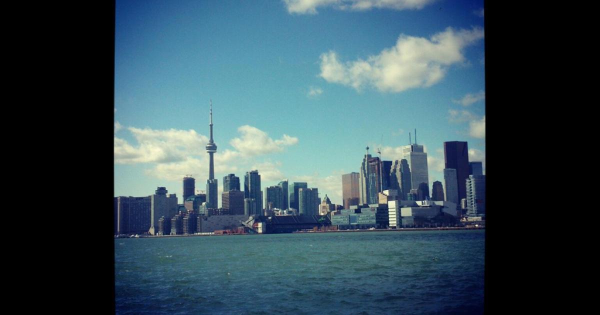 The Toronto skyline.</p>