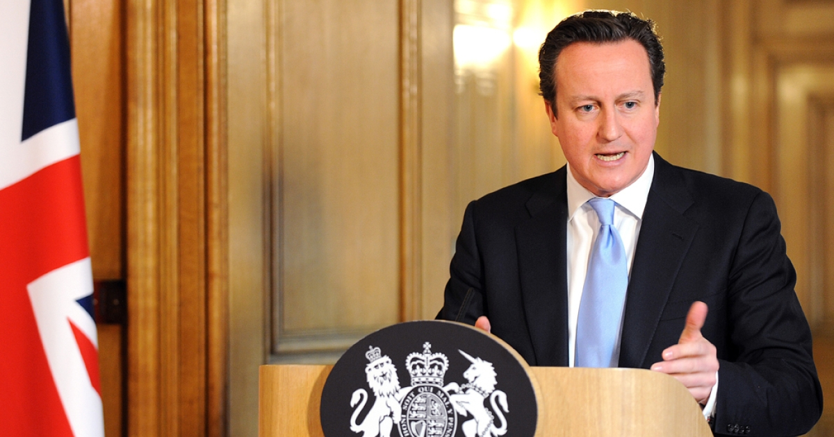 British Prime Minister David Cameron speaks during a press conference at 10 Downing Street on March 14, 2013, in London, England. Cameron has reiterated his interest in working with the European Union to help battle the economic crisis facing Europe.</p>