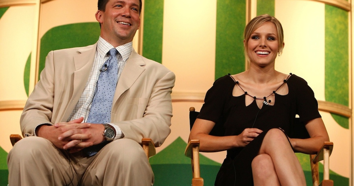 PASADENA, CA - JULY 17:  Executive Producer Rob Thomas (L) and Actress Kristen Bell from the series