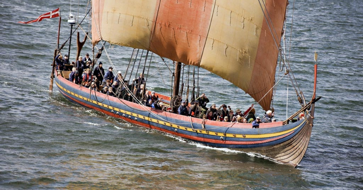The Viking longship Sea Stallion of Glendalough sails through the Limfjorden in Northern Jutland on Aug. 3, 2008, after its journey across the North Sea.</p>
