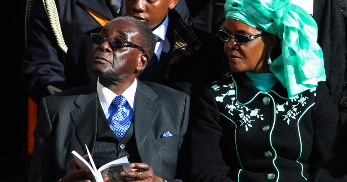 Zimbabwe President Robert Mugabe and his wife Grace attend the Inauguration Mass for Pope Francis in St Peter's Square on March 19, 2013 in Vatican City, Vatican.</p>