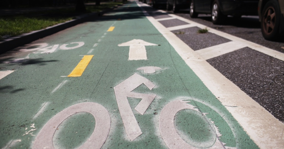 NEW YORK, NY - AUGUST 17: A controversial bike lane next to Prospect Park on August 17, 2011 in New York City. (Spencer Platt/Getty Images)</p>