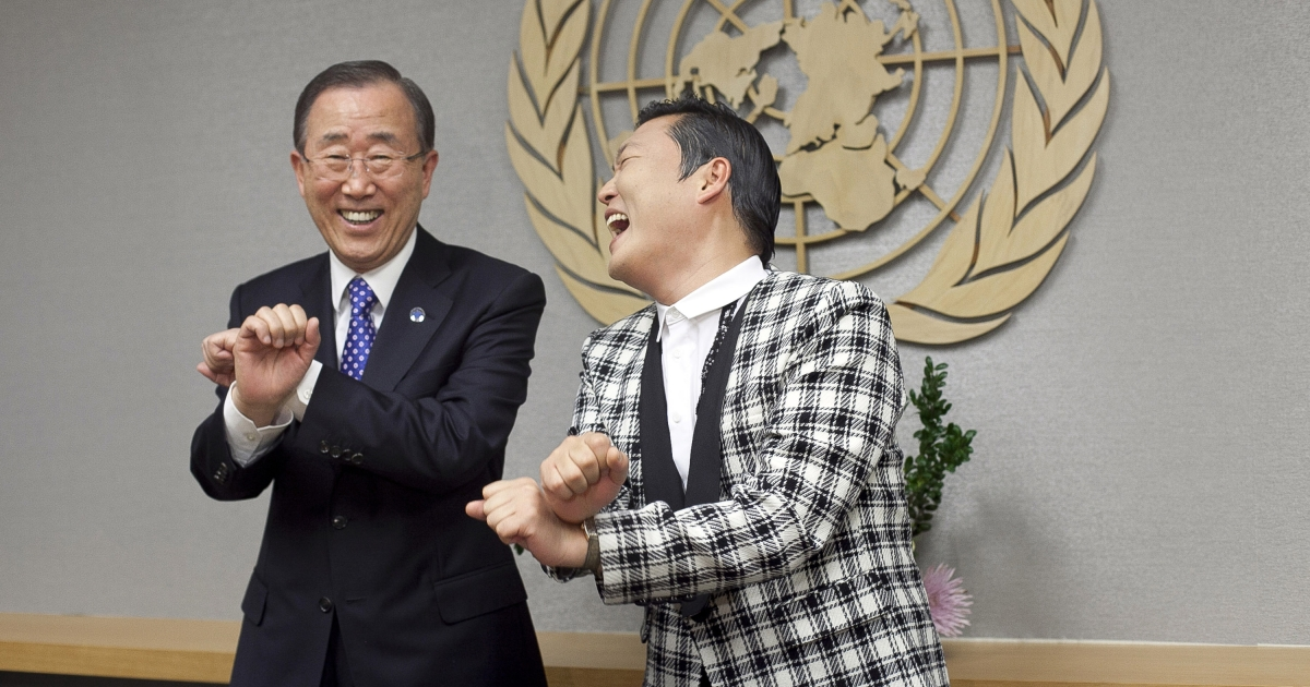 Psy teaches fellow a Korean, United Nations Secretary General Ban Ki-moon, a few dance moves at the UN headquarters on October 23, 2012 in New York City.</p>