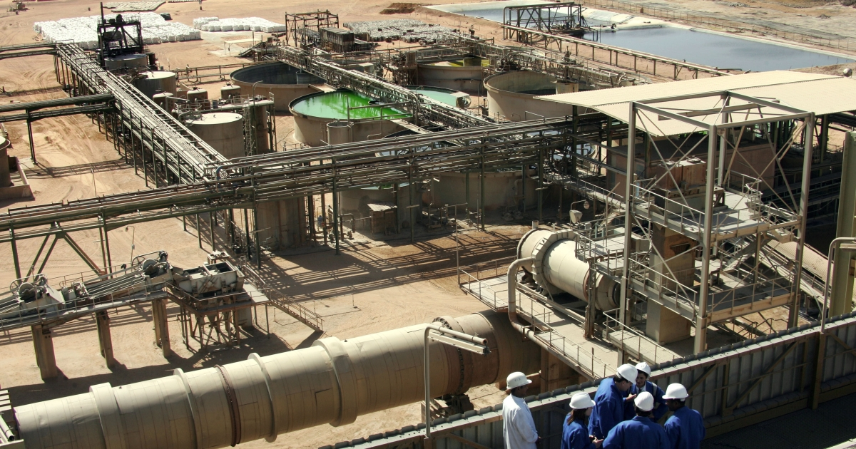 General view taken on 23 February 2005 at Somair mineral treatment plant near the uranium opencast mine exploited by Areva of France, in Arlit, Niger. On Thursday, the mine was hit by suicide bombings that injured dozens.</p>
