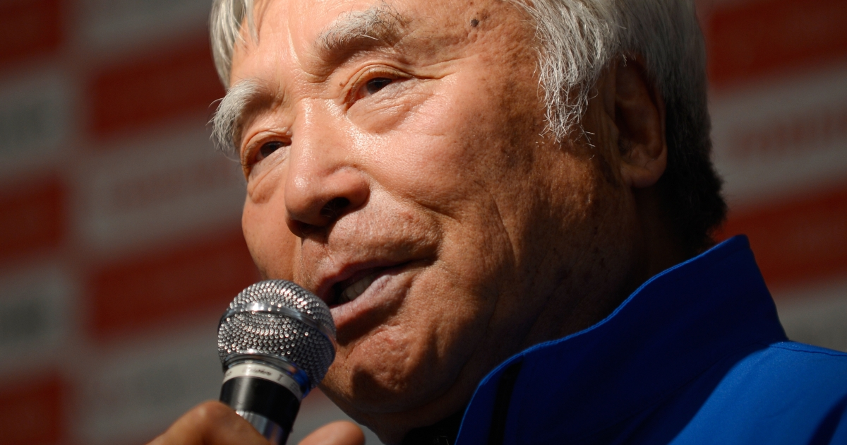 Japanese adventurer Yuichiro Miura answers questions during a press conference in Tokyo on March 22, 2013.</p>