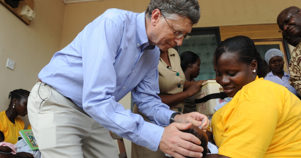 Microsoft's Bill Gates, one of the world's richest men and highest profile aid donors, gives to a child a rotavirus vaccine against diarrhea at the Ahentia Health Centre, in Awutu Senya district, in the Central Region of Ghana, on March 26, 2013. Indian scientists have said they have made a vaccine that costs about 20 times less than earlier vaccines.</p>