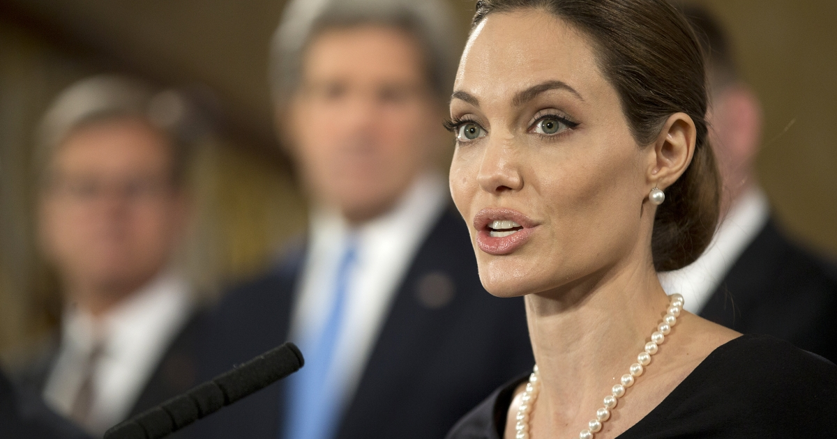 Angelina Jolie speaks at a G8 Foreign Ministers press conference on sexual violence against women in London on April, 11, 2013.</p>