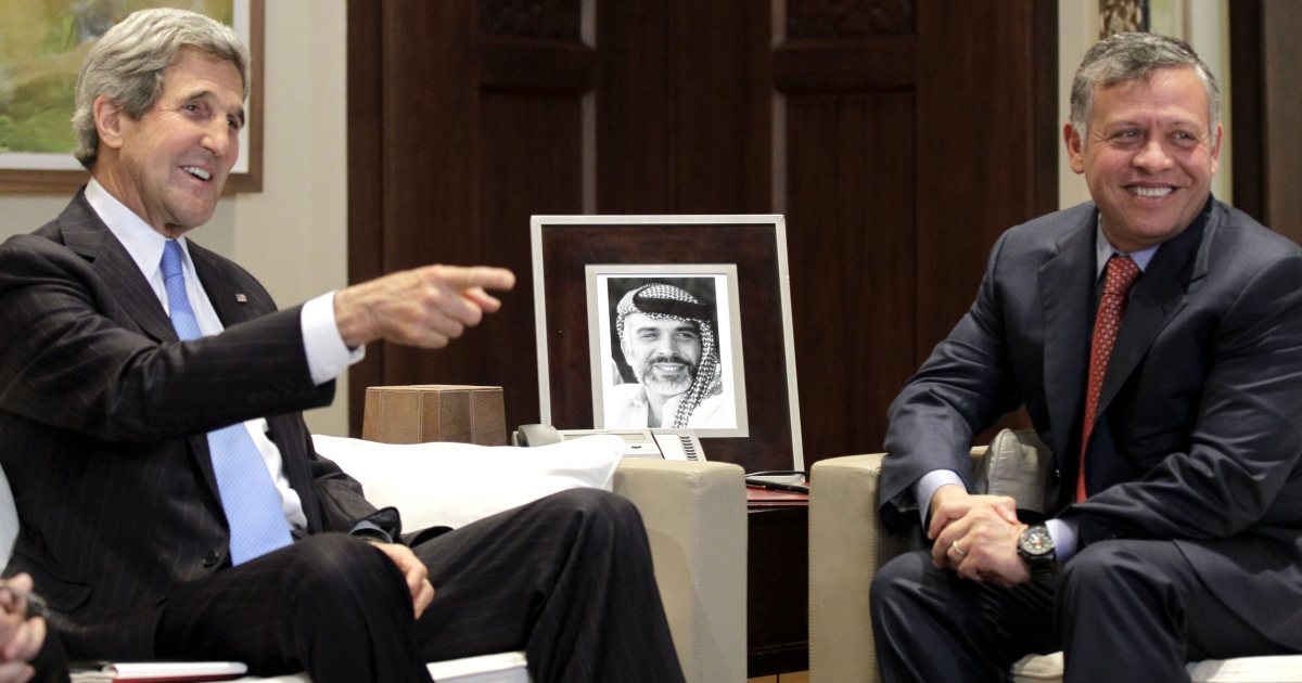 US Secretary of State John Kerry meets with Jordan's King Abdullah II at the Royal Palace on May 22, 2013, in the Jordanian capital Amman. Backers of the Syrian uprising are meeting in Qatar to discuss arming Syrian rebels in the uprising against President Bashar al-Assad.</p>