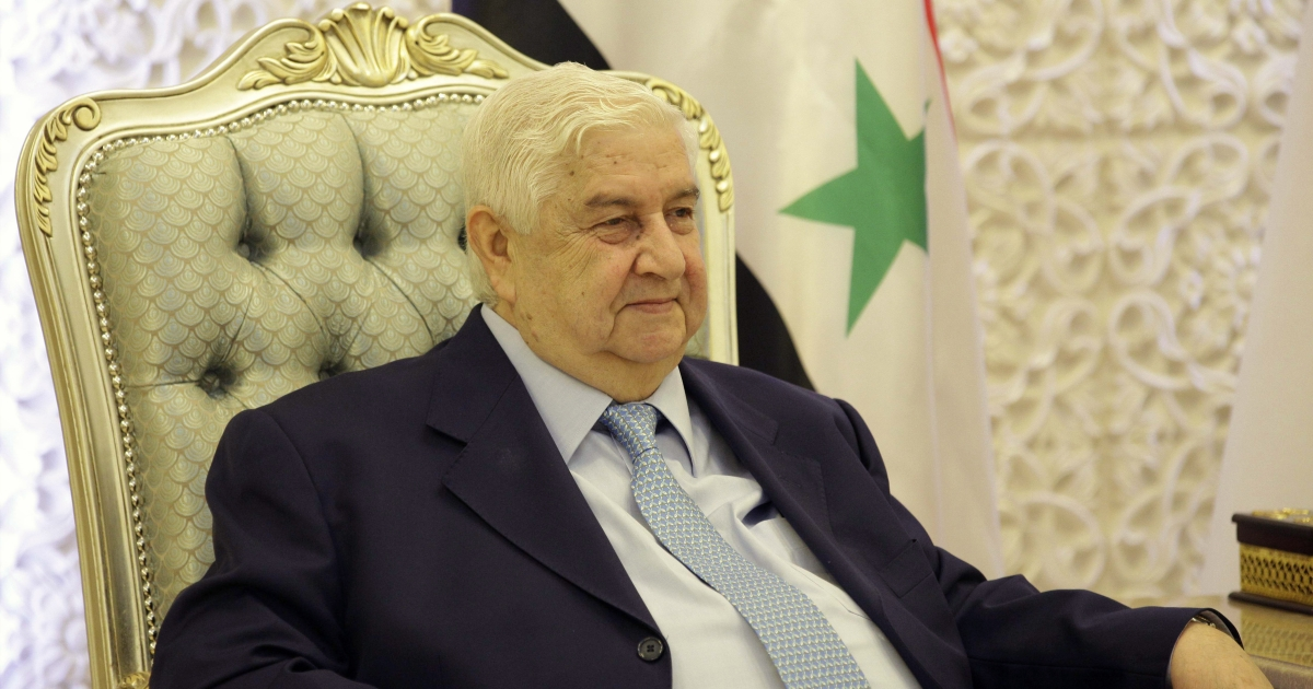 Syrian Foreign Minister Walid al-Moualem meets with Iraqi Prime Minister during an unannounced visit on May 26, 2013 in the Iraqi capital Baghdad. Moualem recently said that Assad will stay in power until the elections in Syria in 2014.</p>