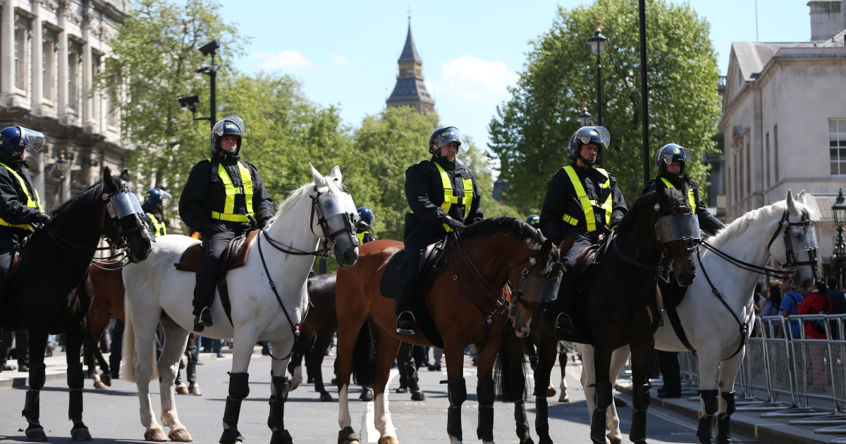 Mounted police gather as members of the English Defence League march through Whitehall towards Downing Street on May 27, 2013 in London, England. The EDL are protesting what the group sees as a lack of support and protection given to British troops following the terror attack last week, in which soldier Drummer Lee Rigby was murdered in a knife and machete attack by two Muslim men outside Woolwich Barracks.</p>