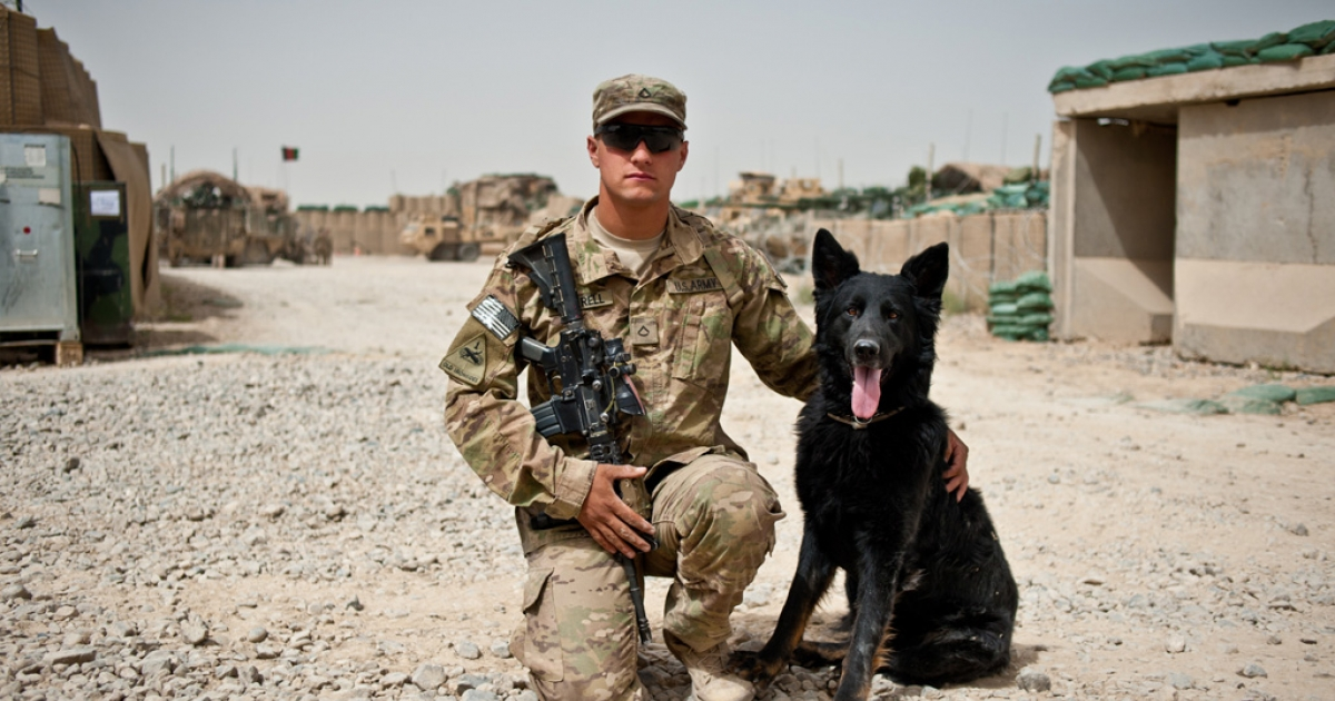 Pfc. Levi Luttrell with his bomb-sniffing dog Aron at Combat Outpost AK in Kandahar Province.  Aron is a 3-year-old Dutch-German Shepherd mix.</p>