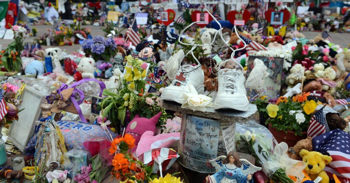 The memorial to the Boston Marathon bombing victims on Boylston Street.</p>