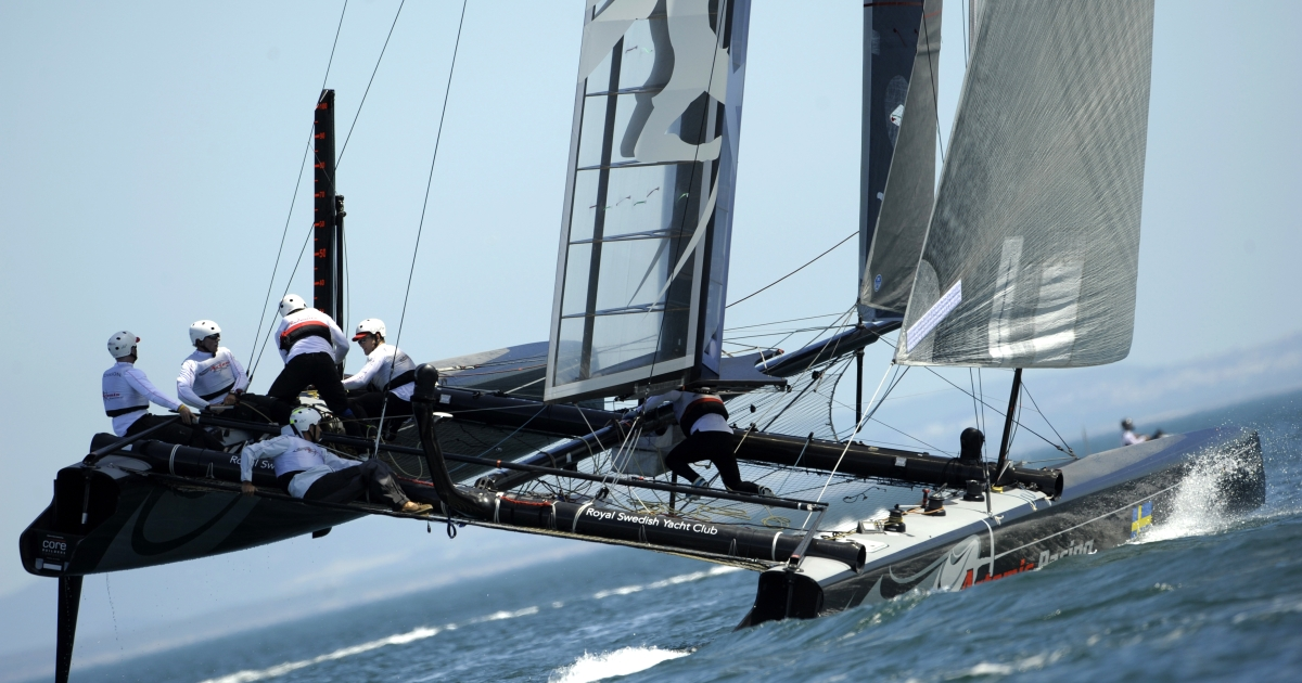 Artemis Racing skippered by Terry Hutchinson sails during the AC World Series Championship in the 7th day of the America's Cup World Race in Cascais, close to Lisbon, on August 14, 2011.</p>