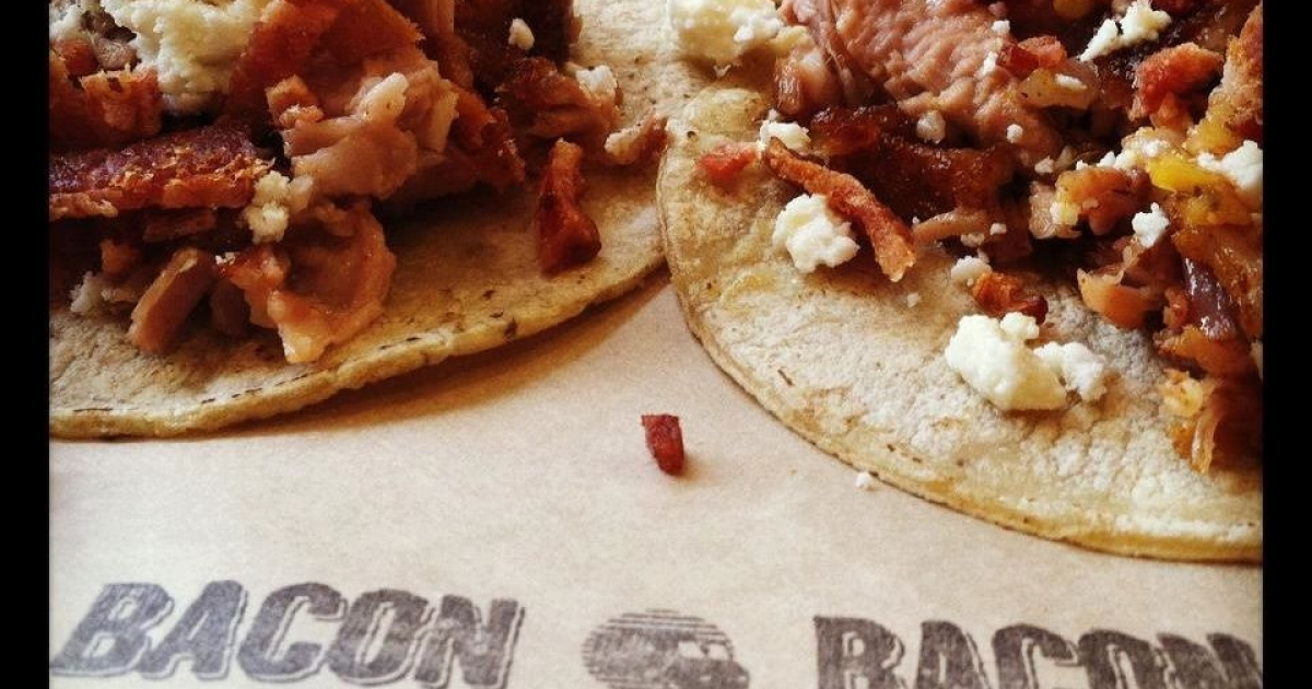 Bacon tacos were among items on the menu at Bacon Bacon in San Francisco.</p>