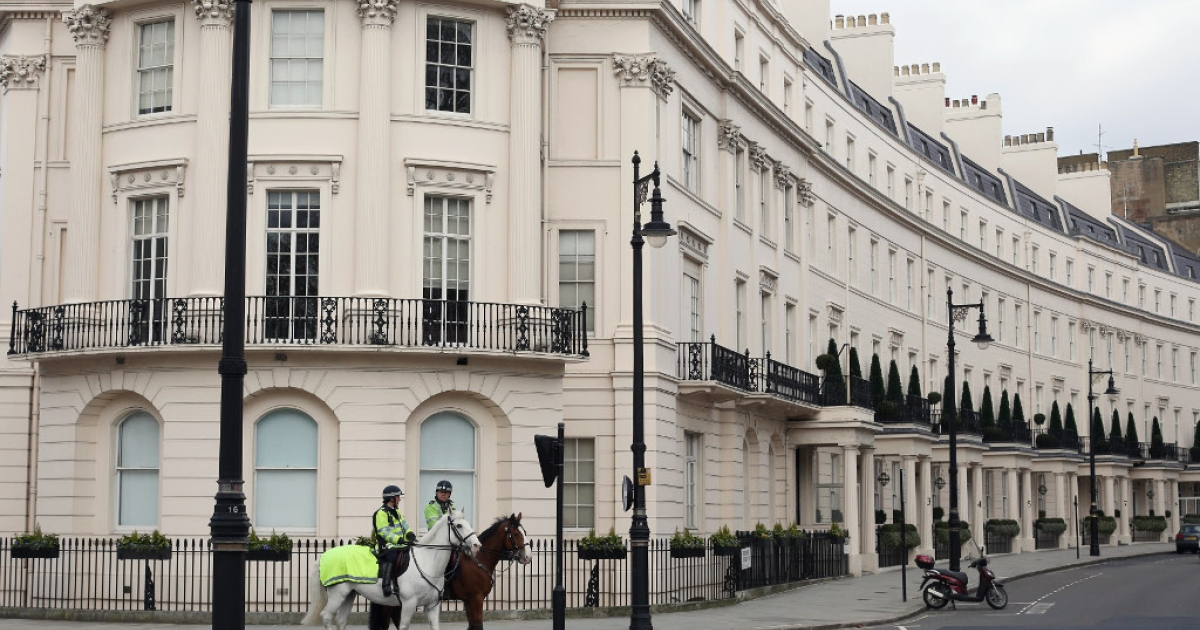 A terrace of residential properties in the affluent Belgravia area of London on April 6, 2013</p>