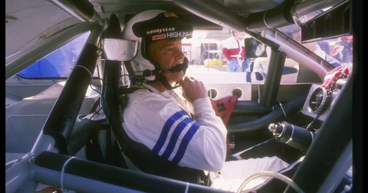 This picture taken in 1993 shows Dick Trickle sitting in his car before the start of a NASCAR race.</p>