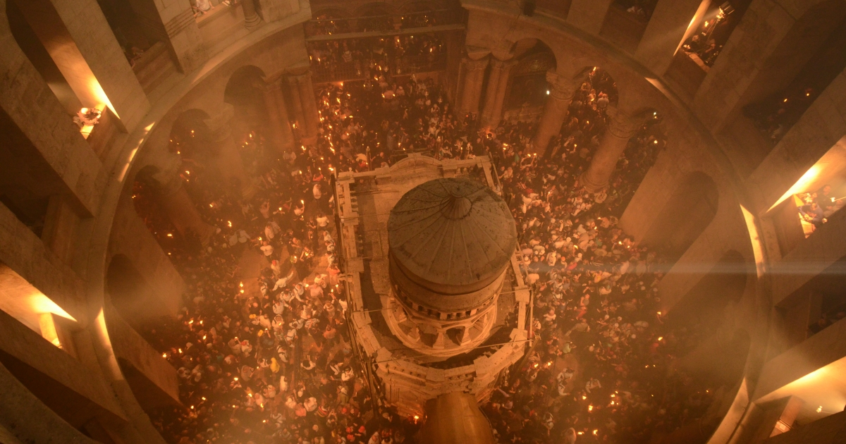 Christian faithful celebrate the Holy Fire, which believers see as an annual miracle that lies at the center piece of Orthodox Easter, at the Church of the Holy Sepulcher in Jerusalem.</p>
